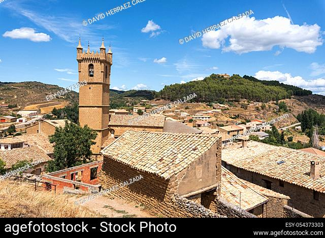 Cityscape of historic medieval village of Uncastillo in Aragon region, Spain