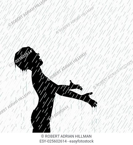 Editable vector illustration of a young boy enjoying the rain