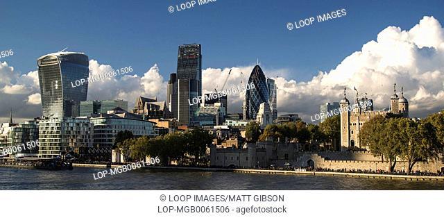 Landscape of City of London iconic landmark buildings