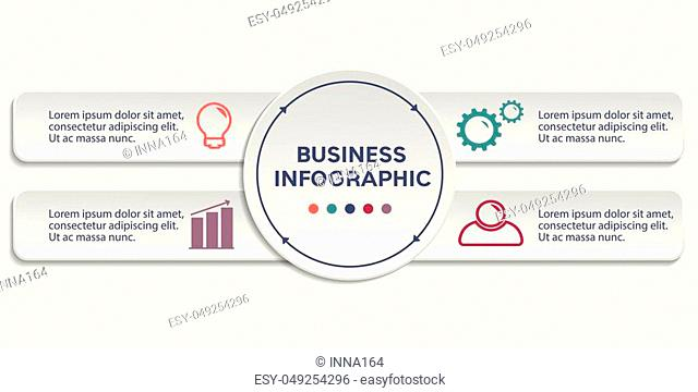Business Infographics circle and rectangles origami style Vector illustration. can be used for workflow layout, banner, diagram, step up options, web design