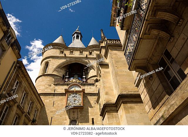 Clock tower, the Grosse cloche, Bordeaux, Gironde. Aquitaine France Europe