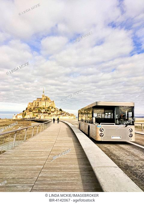 Mont Saint-Michel from the new causeway, with shuttle bus, Normandy, France
