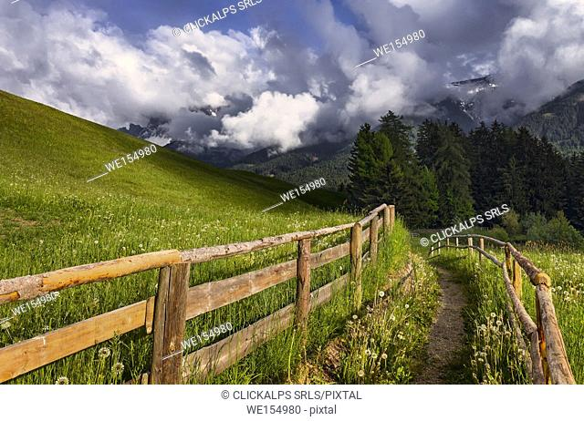 A Path with fence, Funes valley, Bolzano province, South Tyrol region, Trentino Alto Adige, Italy, Europe