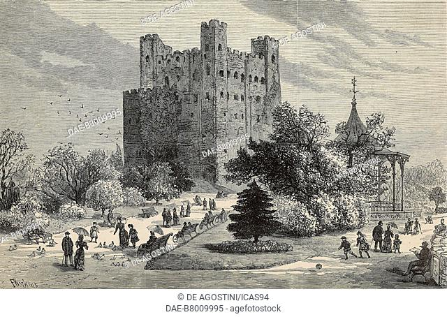 Rochester Castle and grounds used as a public park, United Kingdom, engraving by F Watkins from The Illustrated London News, No 2324, November 3, 1883