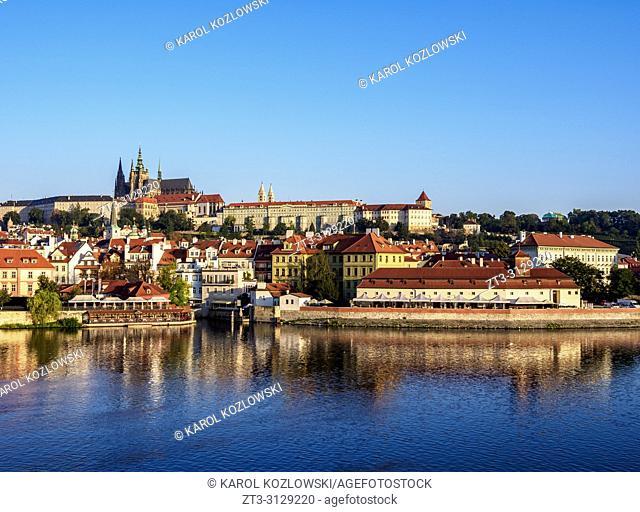 View over Vltava River towards Lesser Town and Castle, Prague, Bohemia Region, Czech Republic