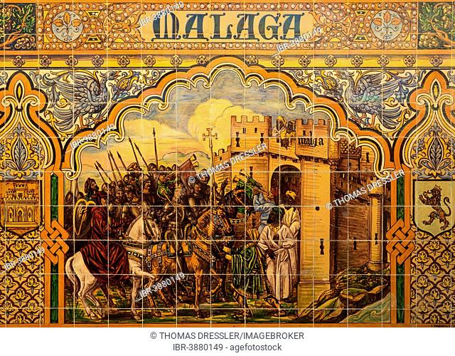 Tile work displaying a historic scene at the Plaza de España, Seville, Seville province, Andalusia, Spain