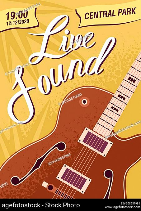 Colorful music live sound festival poster template vector flat illustration. Advertising of musical concert or event with guitar and design elements