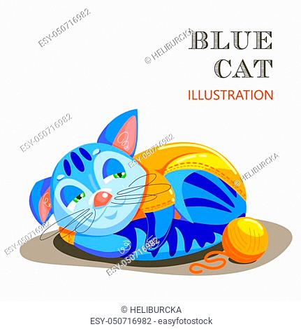 A blue cat in clothes lies with a skein of threads and observes. The dressed kitten rests after the game. The educational card helps the speech therapist for a...