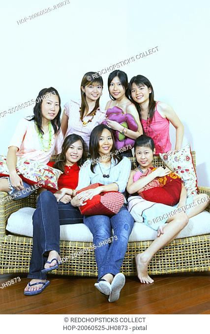 Portrait of a group of young women posing