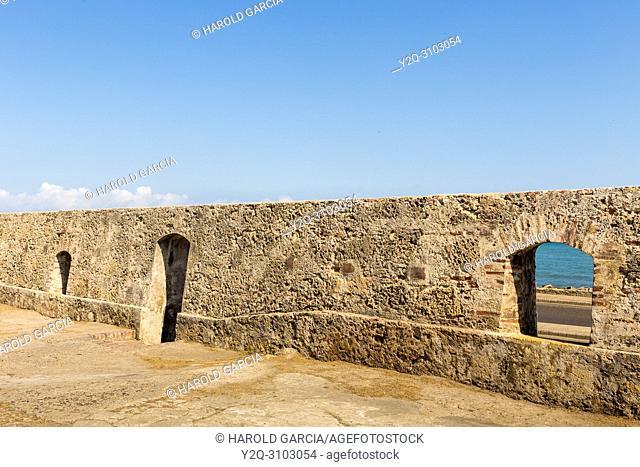 Door and windows in the ancient walled city of Cartagena de Indias. UNESCO's historical patrimony of humanity. Cartagena, Colombia