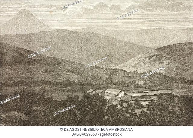 View of the Koe plain from Noumea, New Caledonia, drawing by Jean-Pierre Moynet (1819-1876) from a photograph, from Journey to New Caledonia by the French...