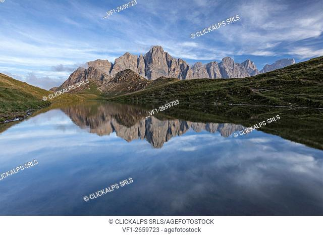 Europe, Italy, Trentino, Dolomites. The small lake of Caladora, not far from Valles pass, with the Pale di San Martino (Pala group)