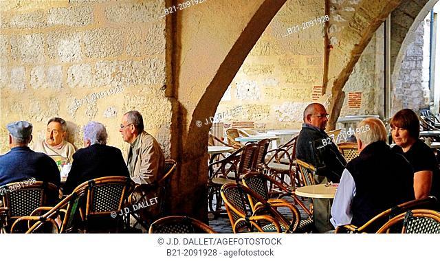 On a terrace at Sainte Foy la Grande, Gironde, Aquitaine, France