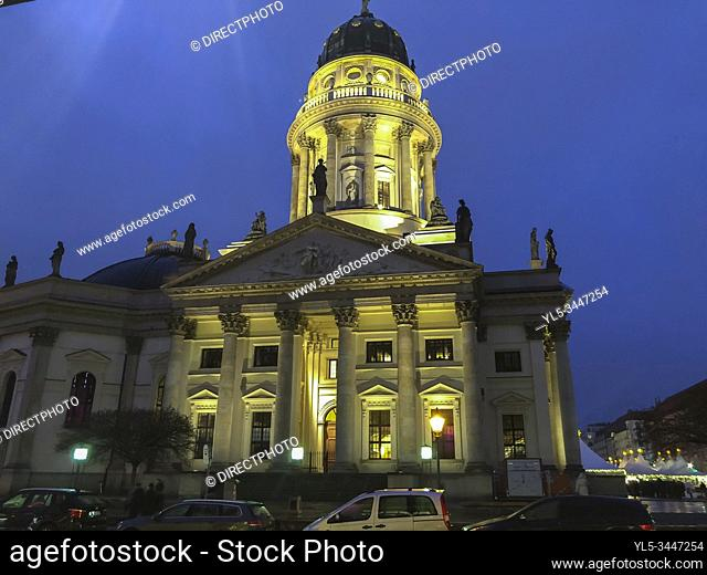Berlin, Germany, Monument, CIty Center at Night, Gendarmenmark, German Cathedral