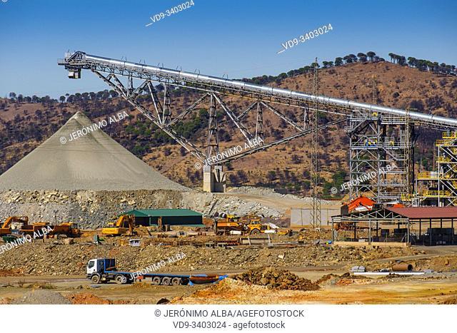Main open pit copper sulphur mine at Rio Tinto, Sierra de Aracena and Picos de Aroche Natural Park. Huelva province. Southern Andalusia, Spain. Europe