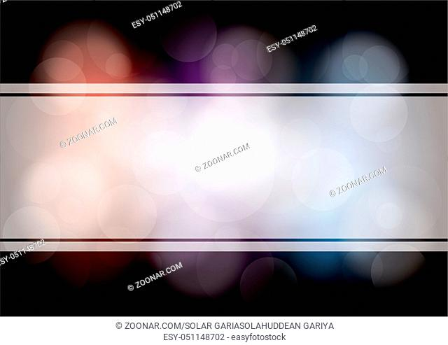 Abstract vector layout, bokeh on dark background. For front page, mockup brochure theme style, banner, idea, cover, booklet, print, flyer, book, blank, card, ad