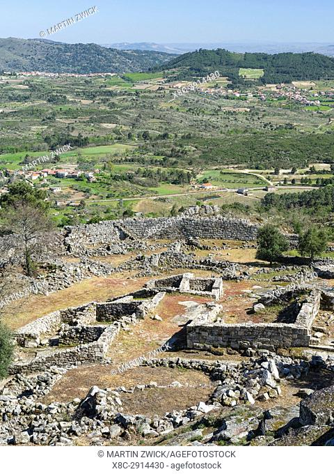 Castle Castelo de Ansiaes located on the hills high above river Douro. The valley of river Douro. It is the wine growing area Alto Douro and listed as UNESCO...