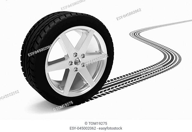 Car wheel with track isolated on white background 3D rendering