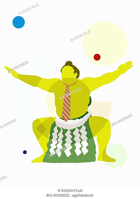 Businessman sumo wrestler