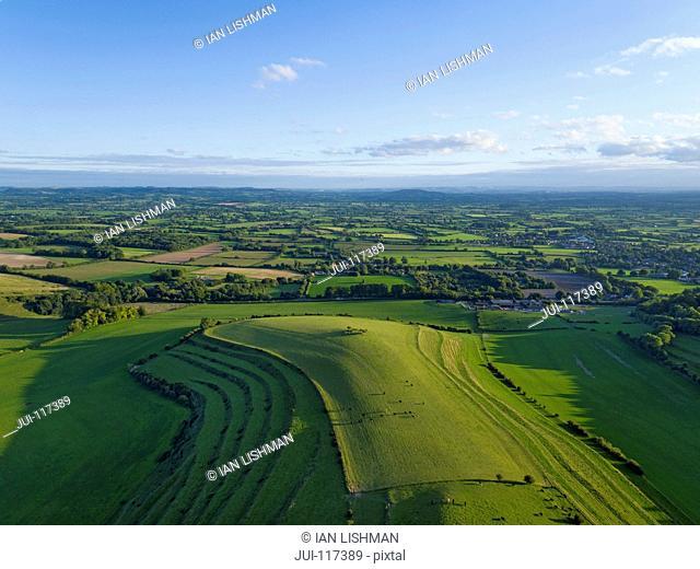 Aerial Landscape Of Green English Farm Fields In Wiltshire
