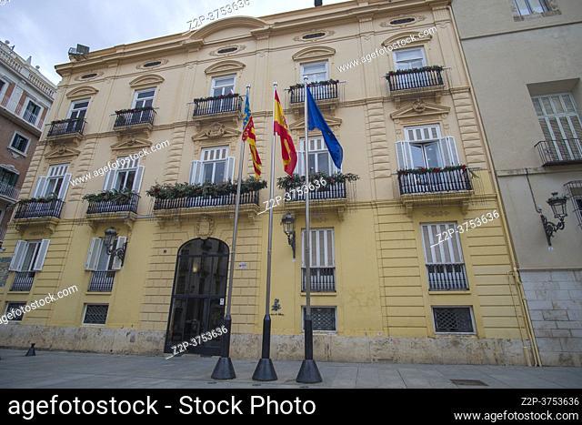 Valencia Spain on December 10, 2020 cityscape in Christmas Diputacio palace