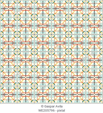 Complex geometric pattern in assorted shapes and colors on a light yellow background. Geometric graphic design
