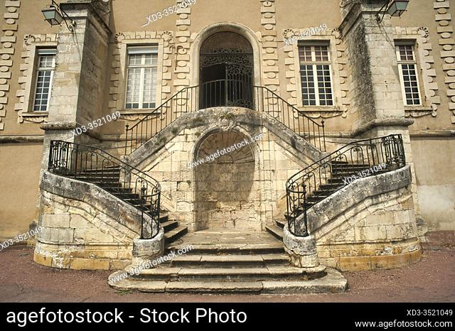 stairway to the Priory of La Reole, La Reole, Gironde Department, Aquitaine, France