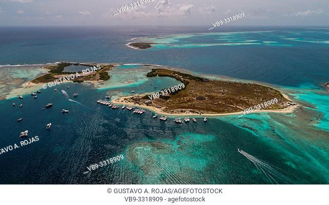 Aerial view Francisky island in los Roques Venezuela