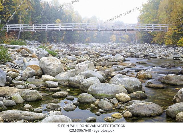 Suspension foot bridge, which crosses the Peabody River at the start of the Great Gulf Trail in Green's Grant of the New Hampshire White Mountains on a foggy...