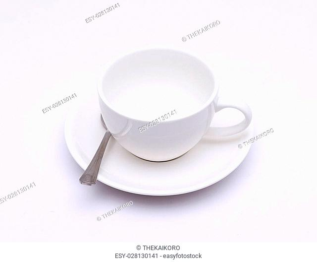 White coffee cup on white background