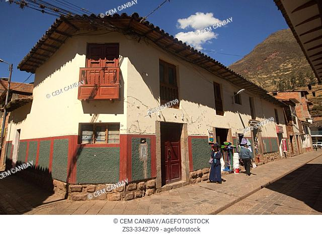 View to the colonial houses at the town center, Pisac, Sacred Valley, Cusco Region, Peru, South America