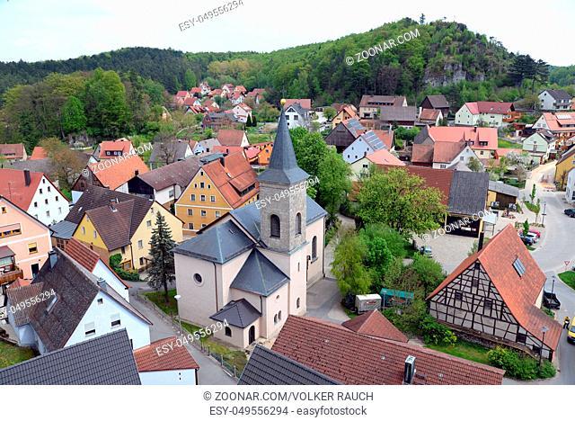 Hartenstein, franken, frankenalb, bayern, dorf, kirche, ort, ortschaft, mittelgebirge, deutschland, mittelfranken, nürnberger land
