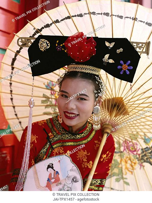 Woman Dressed in Traditional Costume        , Beijing  , China