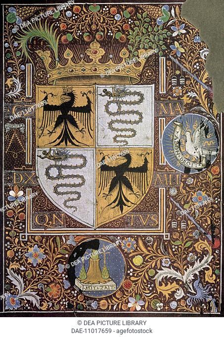 Galeazzo Maria Sforza Coat of arms, miniature. Heraldry, Italy, 15th century.  Vienna, Österreichische Nationalbibliothek (Library)