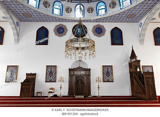 DITIB-Merkez-Mosque, interior view, newly built in the Ottoman style, one of the largest mosques in Germany, Duisburg-Marxloh, Ruhr Area, North Rhine-Westphalia