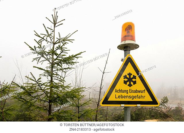 Sign Warning of Falling Ice in Sternwald Wind Farm. Upper Austria. Austria