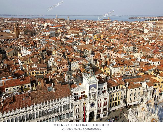 View of Venice from The Campanile bell tower, Italy