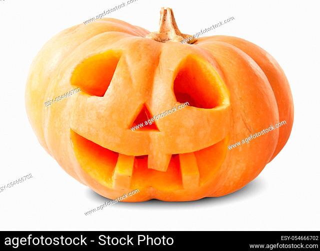 Pumpkin Halloween Jack O'Lantern Isolated On White Background