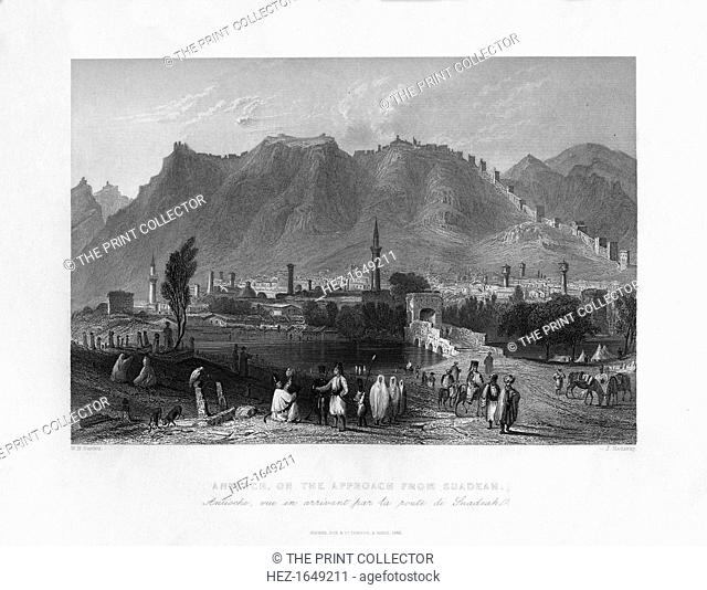 Antioch, on the approach from Suadeah, Turkey, 1841. From Syria, the Holy land and Asia Minor, volume I, by John Carne, published by Fisher, Son & Co