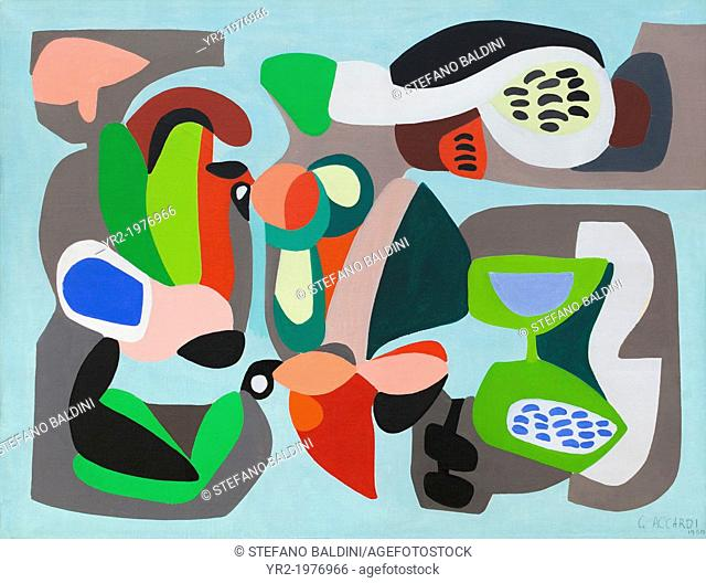 Composition, 1950, Carla Accardi, 1924-, acrylic on canvas, National gallery of modern art, Rome, Italy