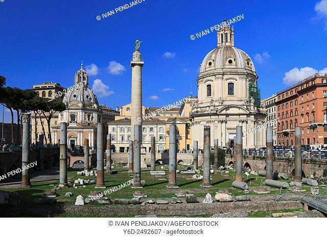 Trajan's Forum and the Church of Santa Maria di Loreto, Rome, Italy
