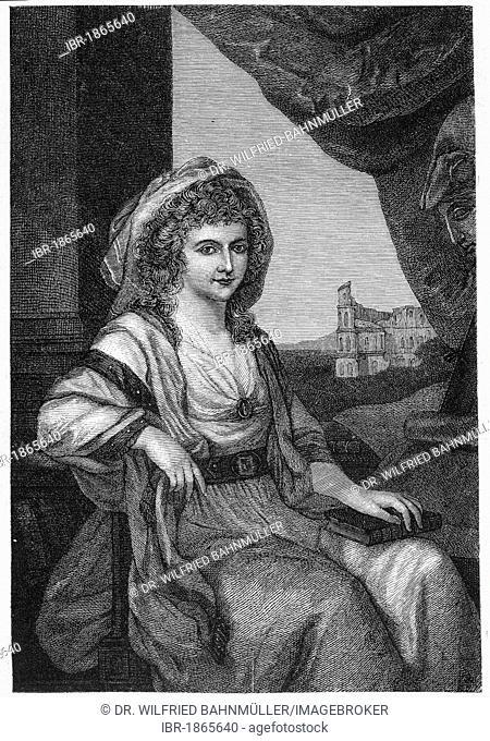 Duchess Anna Amalia von Braunschweig-Wolfenbuettel (1739-1807), steel engraving, before 1880