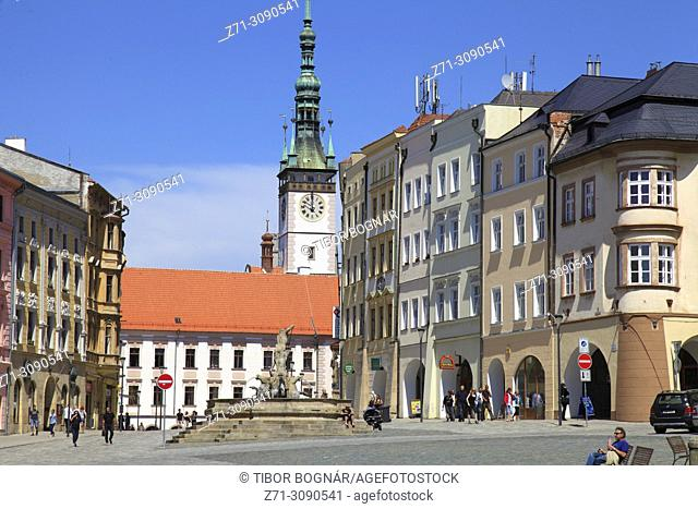 Czech Republic, Moravia, Olomouc, Dolni Namesti, Neptune Fountain, Town Hall,