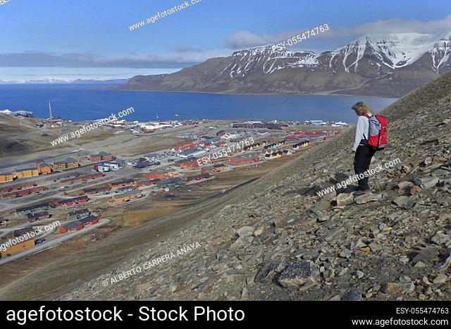 Top View, Longyearbyen, Arctic, Spitsbergen, Svalbard, Norway, Europe