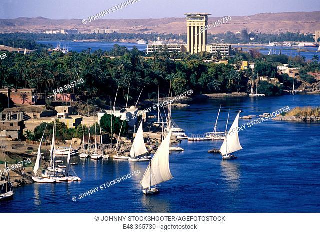 Feluccas on Nile river. Aswan. Egypt