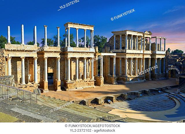 Roman theatre of the Roman colony of Emerita Augusta (Mérida) dedicated by the consul Marcus Vipsanius Agrippa and built in 15BC, renovated late 1st Century AD