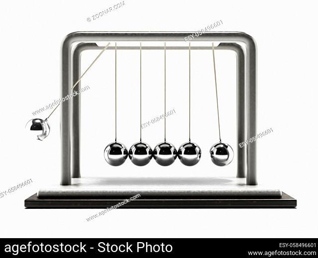 Pendulum with moving chrome spheres isolated on white background