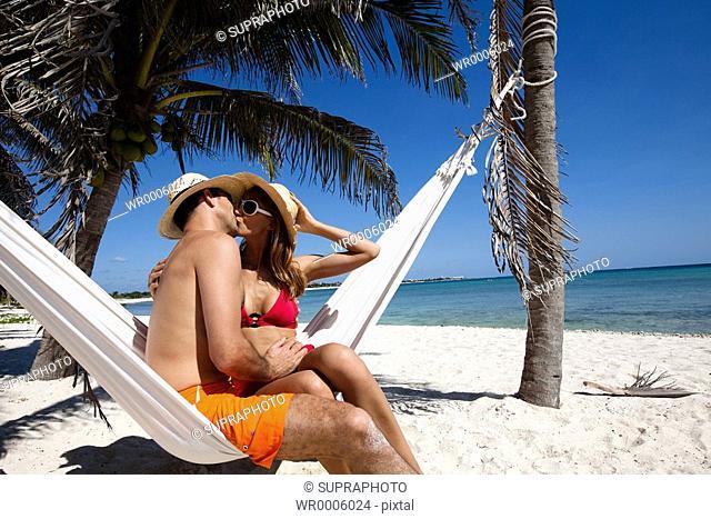 Couple beach hammock