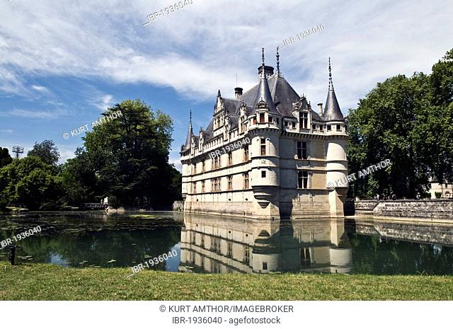 Chateau Azay-le-Rideau castle, a Renaissance castle on the Loire river, start of construction in 1510, UNESCO World Heritage site, department of Touraine