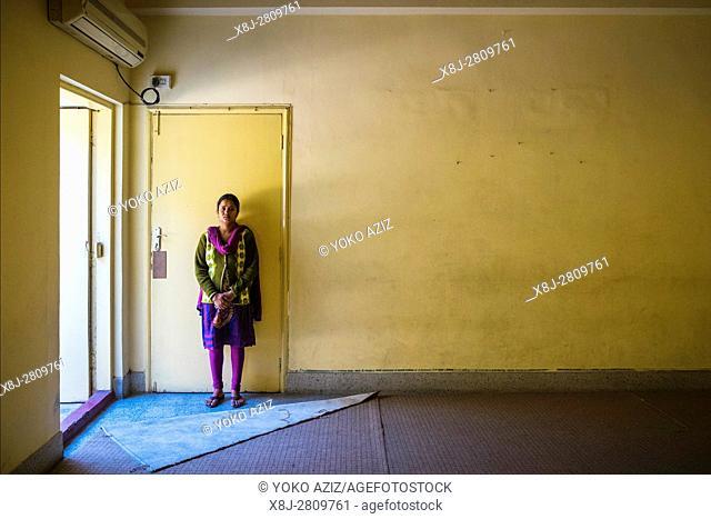 India, Kolkata, Women victims acid attack, portrait